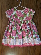 New Baby Lulu Los Angeles Botique Pink and Green Floral Dress 18-24 Months
