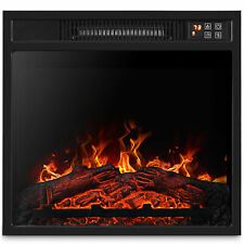 "18""Embedded Electric Fireplace Insert Remote Heater Adjustable Flame 1400W Black"