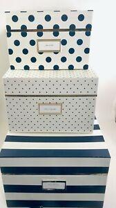 Kate Spade New York Nesting Boxes 3 Navy/White/Green Bonus Gifts Free Shipping!