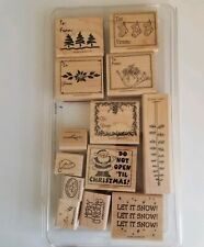 Stampin Up - Christmas Gift Tags - Wood Mounted Rubber Stamp Set-New! 13 stamps