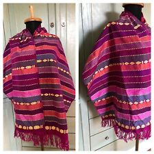 """Woven Embroidered Tribal Scarf Shawl Made in Philippines 2.5"""" Fringe 65.5x20.5"""""""
