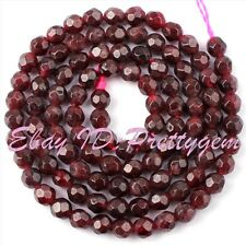 4mm Round Faceted Garnet Genstone Natural Stone Spacer Loose Beads Strands 15""