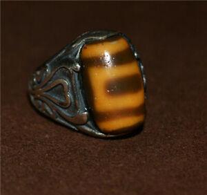 Tibetan sakor namkor dzi bead ring amulet heaven and earth gzi ancient genuine