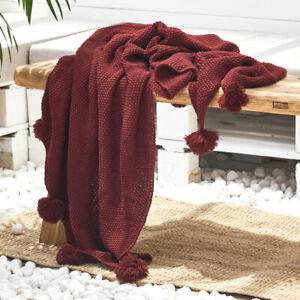 Crochet Knitted Blanket Pompom Thread Blanket Home Sofa Decor Warm Throw Blanket