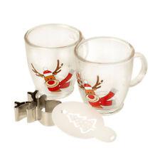 Eddingtons Festive Rudolph Cappuccino Glass Drink Gift Set Coffee Cookie Cutter