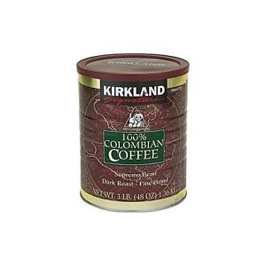 KIRKLAND 100% Colombian Filter Coffee Supremo Bean Dark Roast Fine Grind 1.36kg