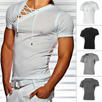 Men Crew Neck Short Sleeve Muscle Lace Up T-shirt Gym Sports Casual Tops Blouse