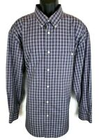 Orvis Mens Wrinklefree Shirt Size XXL 2XL New Blue White Long Sleeve Button