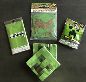 Minecraft Happy Birthday Party Lot Table Cloth, Napkins Balloons 7ft Banner