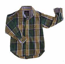 Nautica boys plaid dress shirt size 4 - green, yellow, white