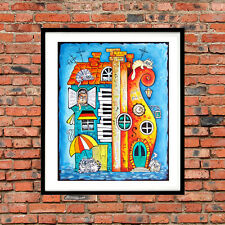 ♥♫♥ DEKO Bild ♥Katze Tiere Haus Klavier Musik Poster A4 Papier  ♥Kunstdruck ♥e51