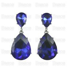 CLIP ON EARRINGS vintage FACETED GLASS CRYSTAL DROPS indigo blue/silver teardrop