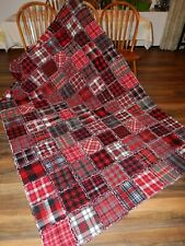 Cozy Cabin Twin Rag Quilt Red Black Grey White Warm & Cozy All Flannel HM  NEW