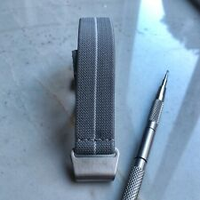 New No Pass, Diver Elastic Watch Strap Band Belt in 20mm - Gray with White Strip