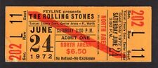 1972 Rolling Stones Unused Full Concert Ticket Exile on Main Street Fort Worth