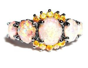 STERLING SILVER - Black Silver Fire Opal Cluster Ring  925 - 3.6 Grams Size 'P'