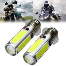 2pcs H6M PX15d COB LED Motorcycle ATV Headlight Fog Light Bulbs 6000K White