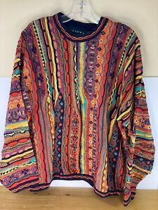 VINTAGE Men's TUNDRA Coogi Style Mercerized Sweater - XL - Cosby Biggie Rainbow