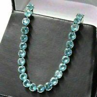 Blue Aquamarine Tennis Bracelet Women Jewelry Gift 14K White Gold Plated