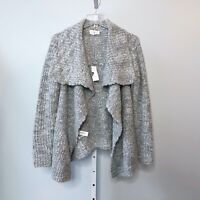 Lou & Grey NWT Small Cardigan Sweater Gray Open Front Alpaca Blend Fold Over