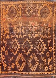 Antique Geometric Moroccan Tribal Oriental Area Rug Hand-knotted Wool Carpet 5x6