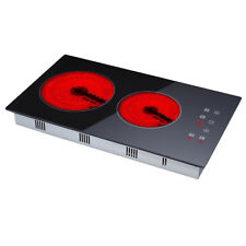 30cm Touch Control 2 Zone Electric Domino Ceramic Hob Black Glass