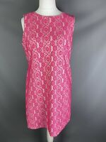 TU Size 16 Hot Bright Pink Floral Retro Style Shift Dress Sleeveless Summer