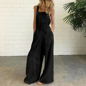 Ladys Summer Jumpsuits Sleeveless Cotton Dungarees Wide Leg Overalls Long Pants