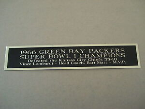 Green Bay Packers Super Bowl 1 Nameplate For A Football Mini Helmet Case 1.25X6