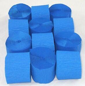 12 Dark Blue Crepe paper EACH Streamer 45mm x 10metres quauliy decoration