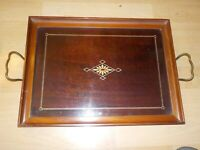 Antique Royal Rochester Mahogany Inlaid Wood Serving Tray Glass Top Art Deco