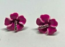 Vintage Ceramic Enamel Deep Pink Flower Rhinestone Diamante Earrings 1980'