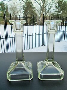 Depression Glass Clear Beveled Squared Taper Candle Candlestick Holder Pair
