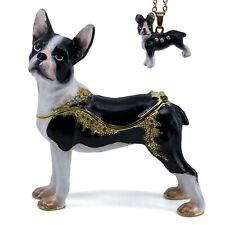 """Bejeweled Enameled Pewter Boston Terrier Dog Trinket Box With Necklace 3.25""""H"""