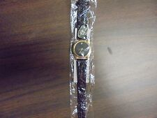 "8""  Quartz Black Watch Band with Genuine Diamand"