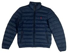 Ralph Lauren Polo Mens Down Puffer Pony Logo Jacket Navy/Red New