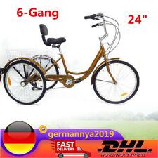 24'' 3 Räder Dreirad Trike Gold 6-Gang Erwachsenen Fahrrad + Korb Adult Tricycle