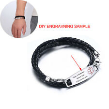 Men Medical Alert ID Tag Bracelet Braided Pu Leather Band Custom Free Engraving
