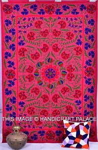 Indian Cotton Tapestry Bedspread Embroidered Hippie Suzani Wall Hanging Bedding