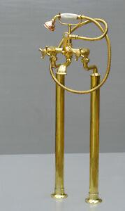 Vintage bath mixer taps - with pillars - brass - freestanding roll top - belco