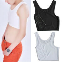 Womens Solid Color Short Chest Breast Binder Crop Top Vest Padded Sports Bra