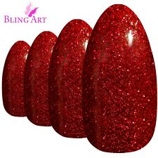 Bling Art Almond False Nails Black Red Pink Purple Gold Gel Fake Medium Tip Glue