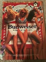 Vintage 1980s BUDWEISER BUD GIRLS Poster Print Ad KING OF BEERS BEER TOWEL RARE