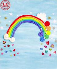Telón de fondo azul cielo Arco Iris Bebé Corazón Fondo Vinilo Foto Prop 7X5FT 220X150CM