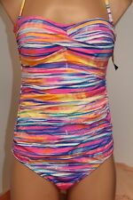 NWT Ralph Lauren Swimsuit Bikini 1 One piece Size 12 MLT  Bandeau