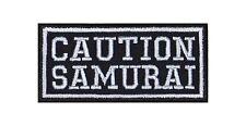 Caution Samurai Biker Heavy Rocker Patch Aufnäher Bügelbild Kutte Badge Stick