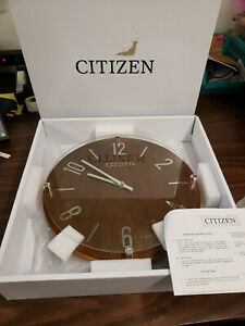 "New - Citizen 13.5"" Wood Faced Wall Clock Circular Silver Markers & Hands CC2021"