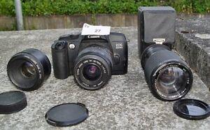 Sammlerstück Canon EOS 5000 analoge Spiegelreflexkamera mit 3 Objektiven