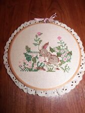 """Adorable COMPLETED Bunny and Flowers Counted Cross Stitch 6"""" Hoop and Lace"""