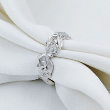 Flower Engagement Wedding Band Eternity Ring 925 Sterling Silver Aaa Cz Size 9